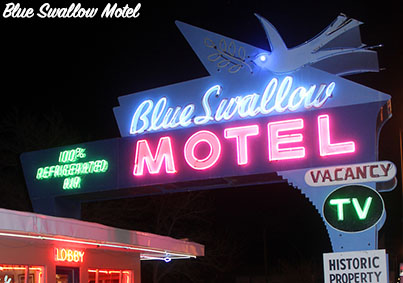 route 66 road trip blue swallow